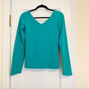 Lululemon V-Neck Long Sleeve Top Teal Green 6